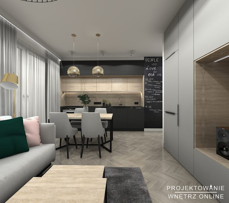 Projekt Salonu Z Kuchnią I Stołem Styl W Kategorii Salon
