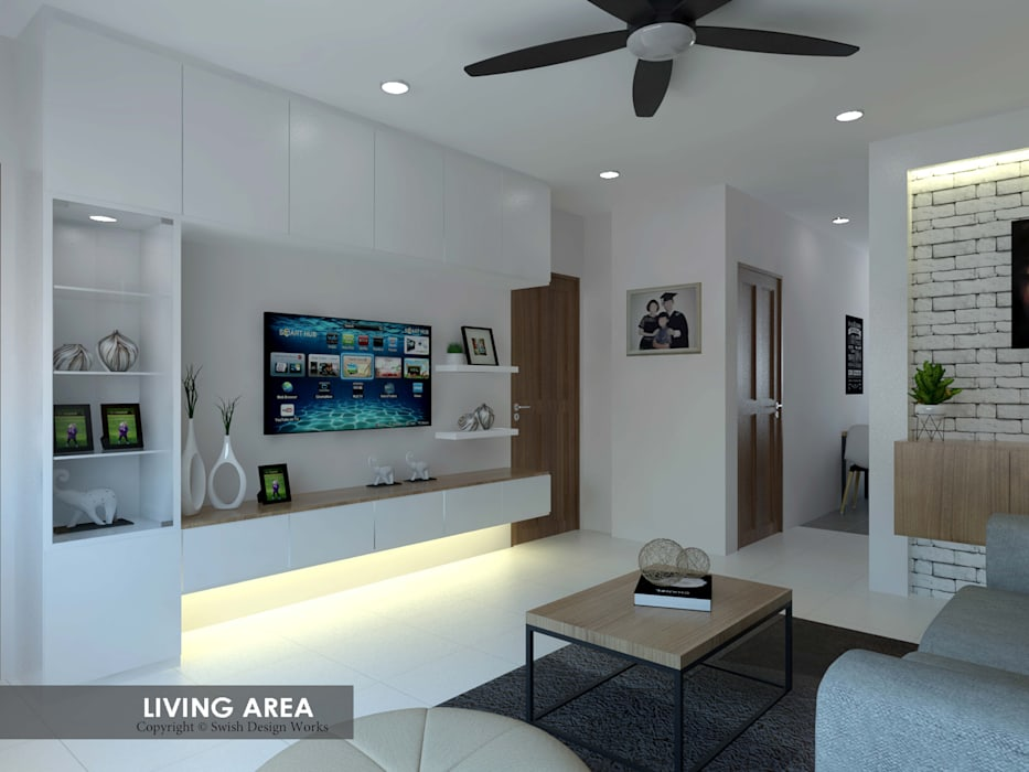 Potong Pasir Ave 1:  Living room by Swish Design Works,Modern