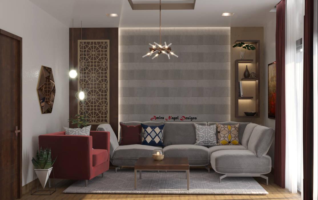 تصميم غرفة معيشة:  غرفة المعيشة تنفيذ AmiraNayelDesigns,