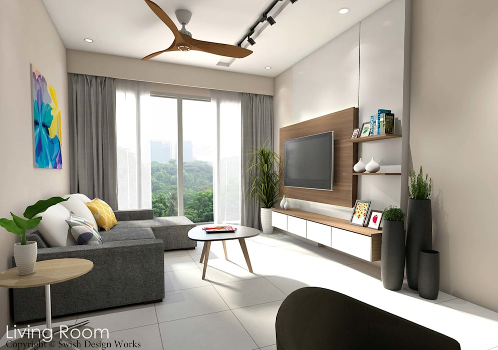 Yishun:  Living room by Swish Design Works
