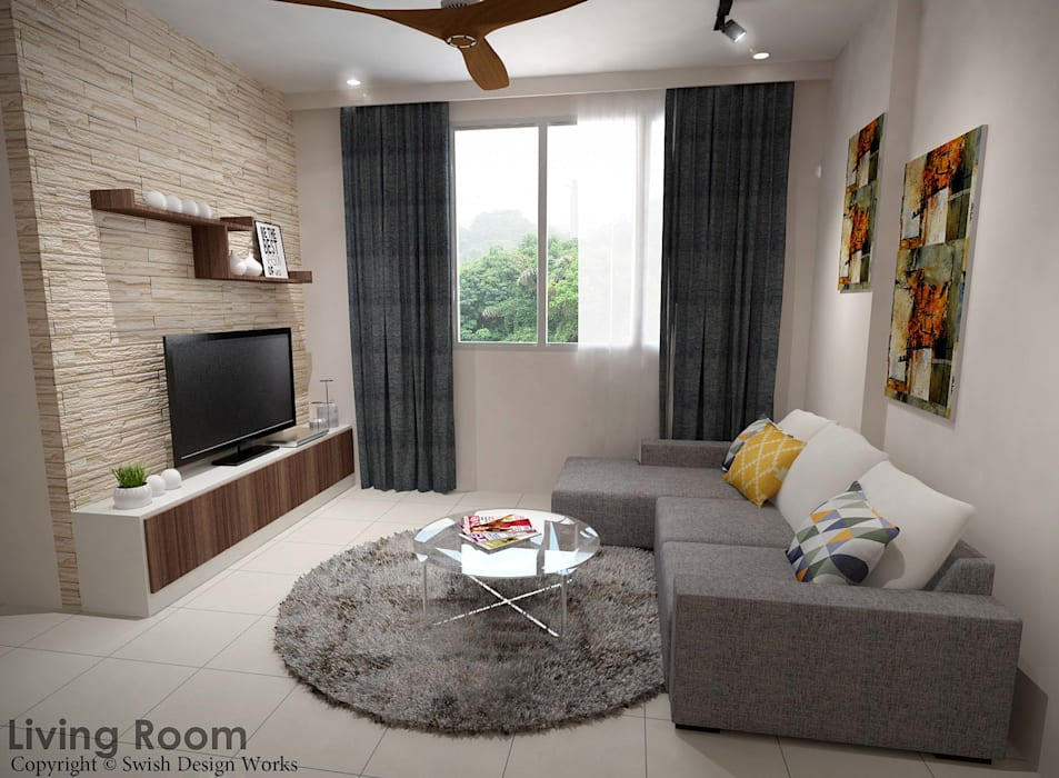 Yishun Ave 6:  Living room by Swish Design Works