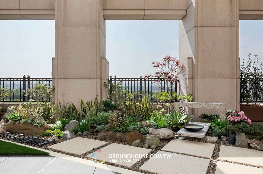 大塊的石磚步道也帶有日式風味 by 大地工房景觀公司 Asian