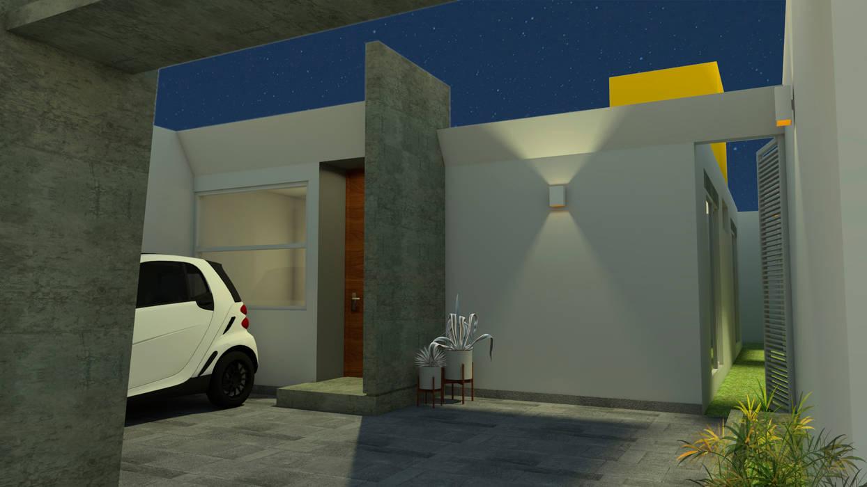 Fachada interior.: Casas unifamiliares de estilo  por Creer y Crear. Arquitectura/Diseño/Construcción