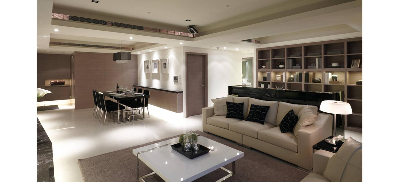 中央空調隱藏在天花夾層內:  客廳 by 鼎爵室內裝修設計工程有限公司, 現代風