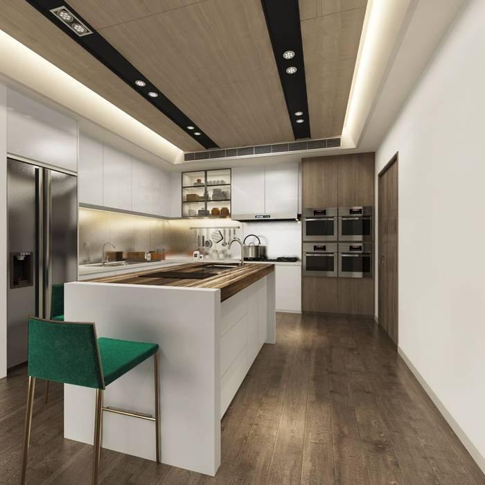開放式的廚房規劃了中島吧檯 台中室內設計-築采設計 系統廚具