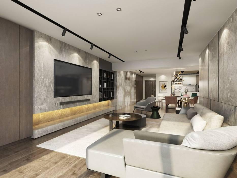 電視牆採用大理石材,並採用隱藏電線的設計手法:  客廳 by 台中室內設計-築采設計