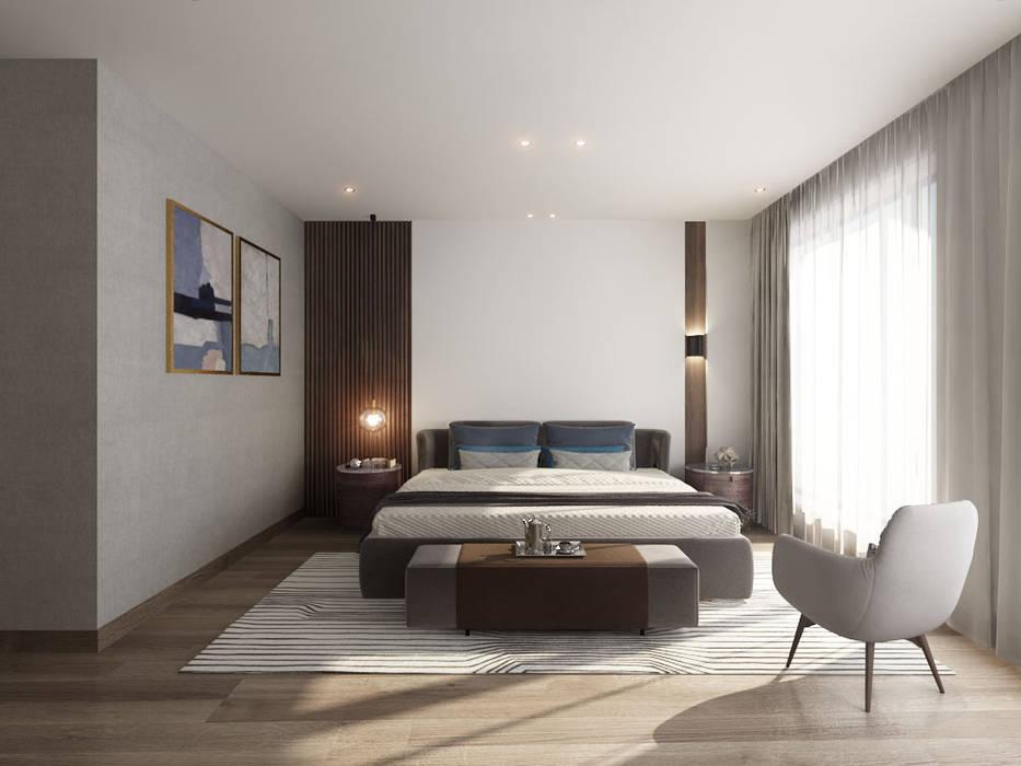 床頭牆的格柵設計別出心裁 台中室內設計-築采設計 小臥室