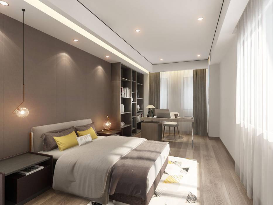 主臥設有一辦公角落 台中室內設計-築采設計 小臥室