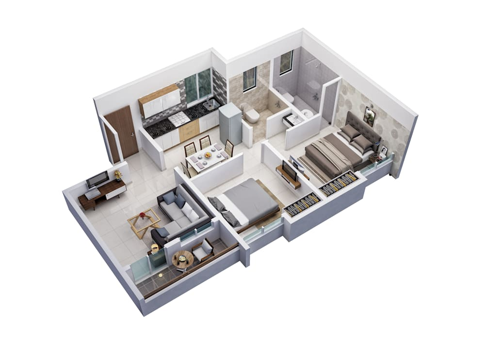 2 BHK by Space Alchemists Minimalist