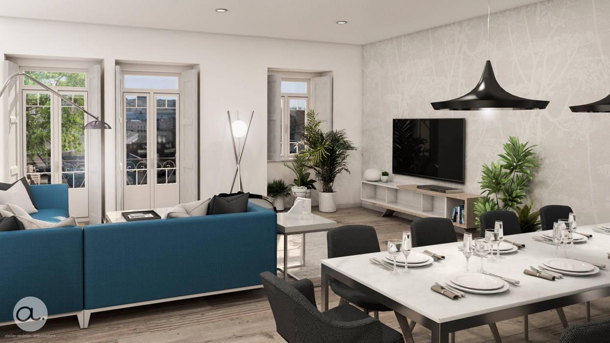 sala de Estar e Sala de jantar: Salas de estar  por aponto,Moderno Madeira Acabamento em madeira