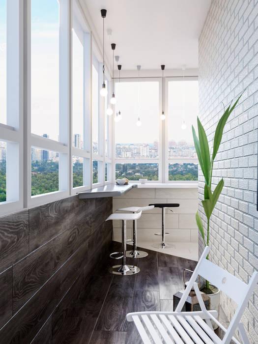 Квартира м.Лермонтовский проспект: балконы в . Автор – Mstudio, Минимализм