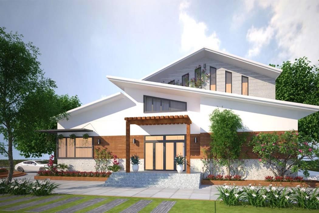 Các mẫu thiết kế biệt thự nhà vườn 2 tầng mới nhất 2019:  Biệt thự by CÔNG TY CỔ PHẦN XD&TM KIẾN TẠO VIỆT, Hiện đại