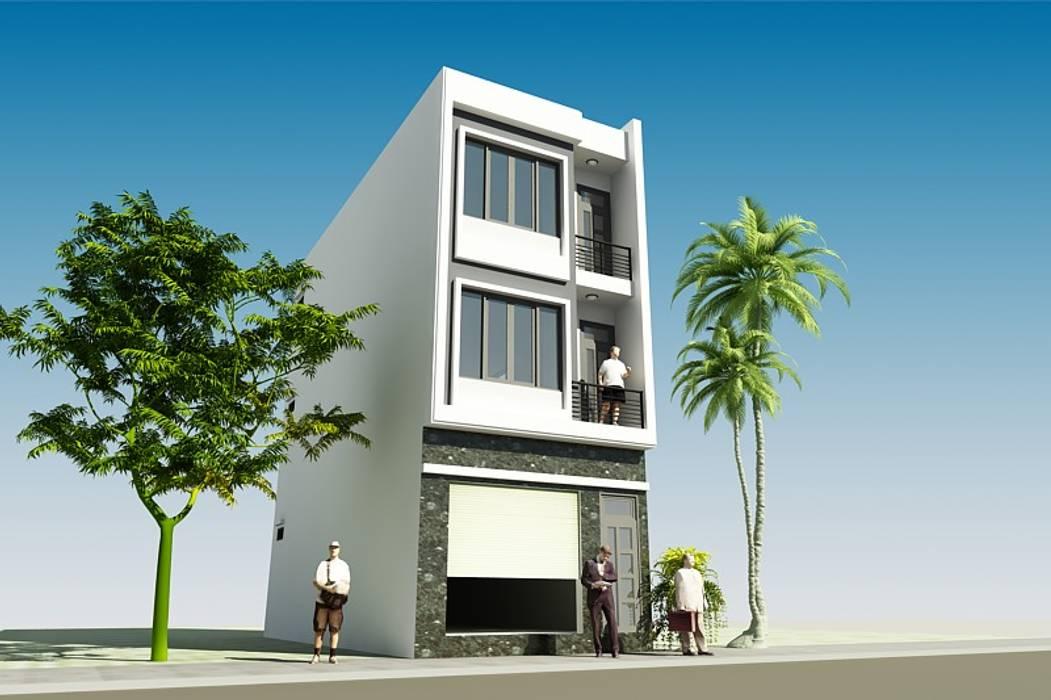 Thiết kế nhà phố 3 tầng mặt tiền 5m tại Long Biên CÔNG TY CỔ PHẦN XD&TM KIẾN TẠO VIỆT Biệt thự White