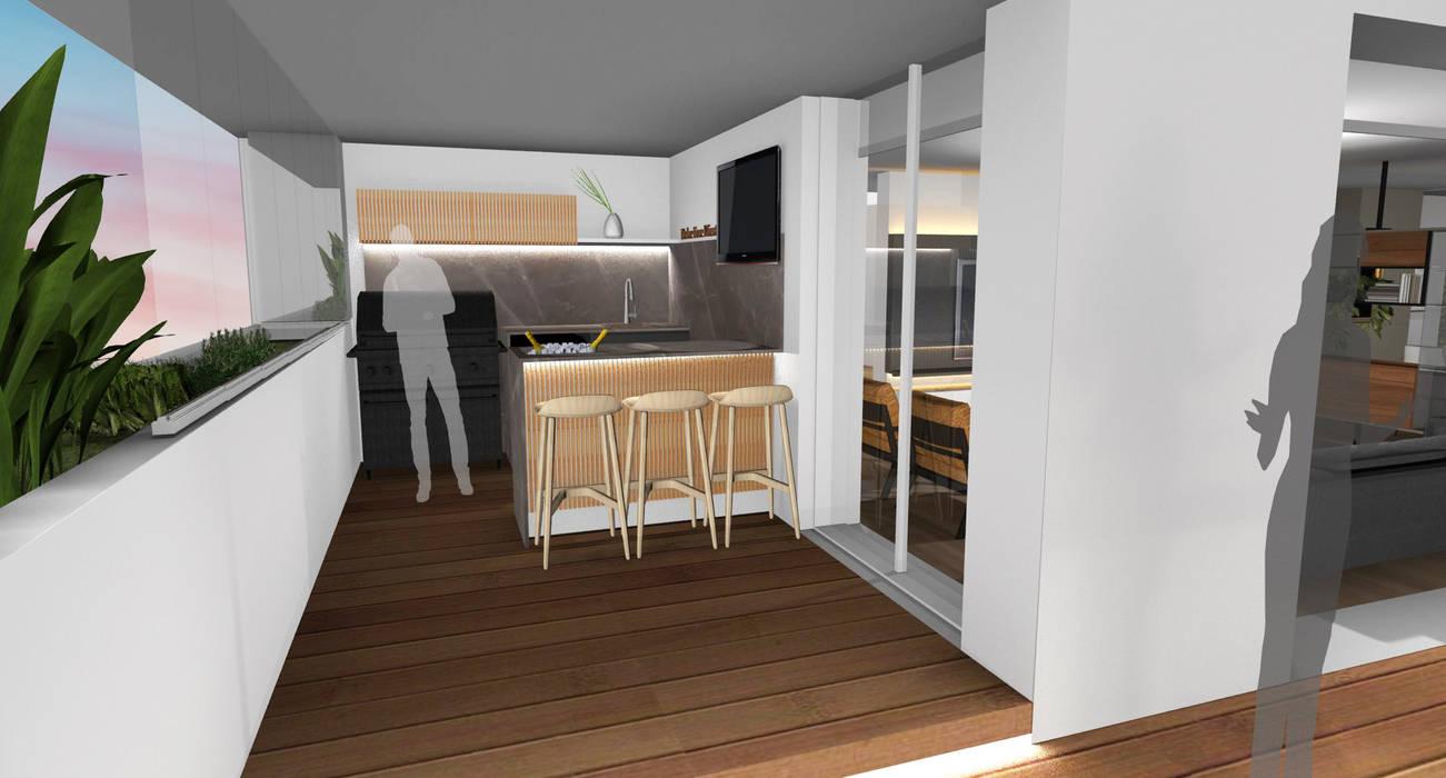 Área Gourmet Varandas, marquises e terraços modernos por Form Arquitetura e Design Moderno