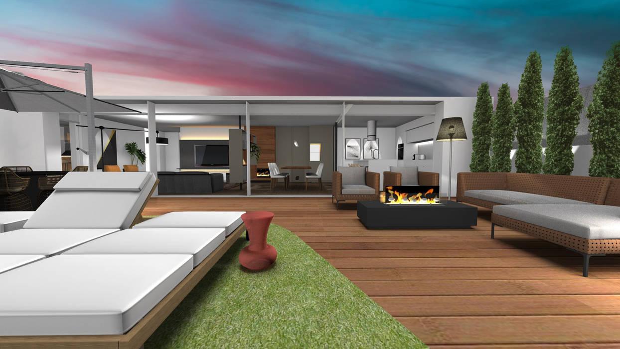 Vista do terraço - Sala de estar com lareira a etanol Form Arquitetura e Design Varandas, marquises e terraços modernos Madeira