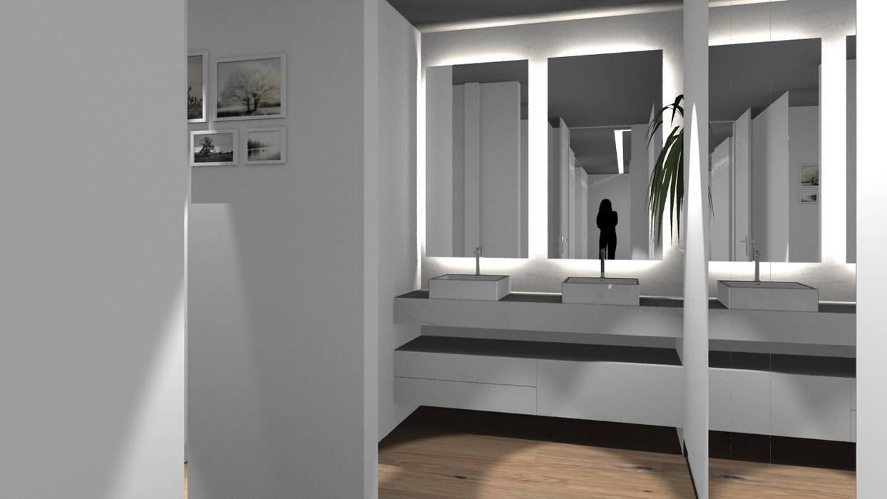 Vista da casa de banho da suíte do casal - Lavatórios: Casas de banho  por Form Arquitetura e Design