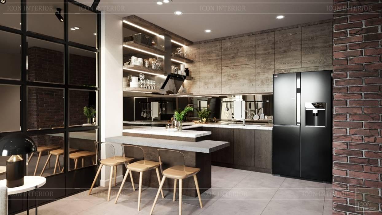 Phong cách Công nghiệp (Industrial style) trong thiết kế nội thất căn hộ Sunrise Cityview Nhà bếp phong cách công nghiệp bởi ICON INTERIOR Công nghiệp