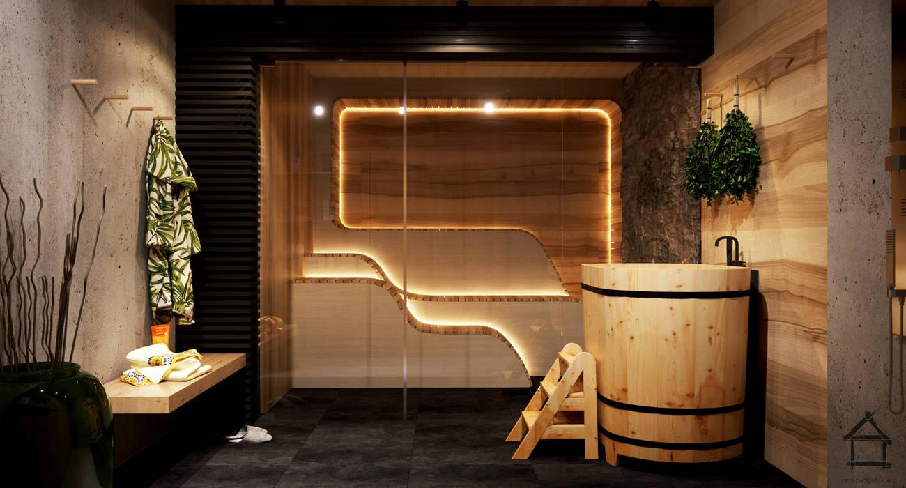 Sauna in stile  di TES_tudio, Industrial Legno composito Trasparente