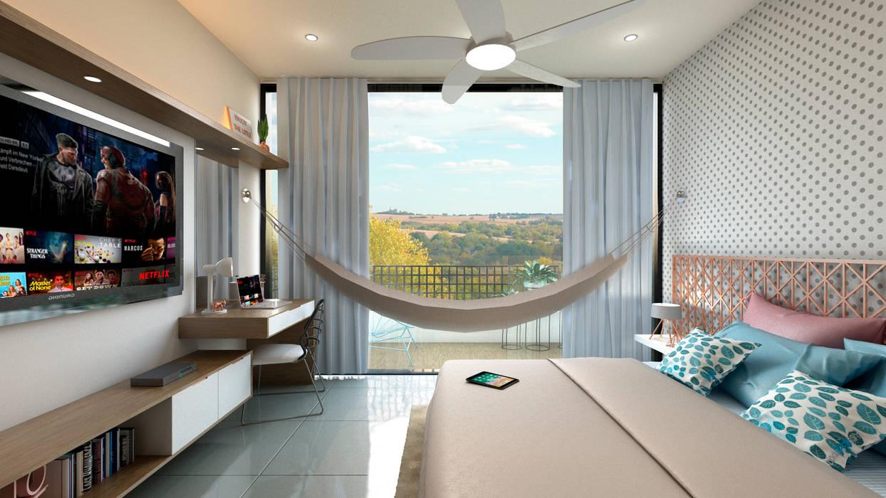 Habitación y Mueble de TV: Cuartos pequeños de estilo  por Tabasca Architecture & Design, Moderno Madera Acabado en madera