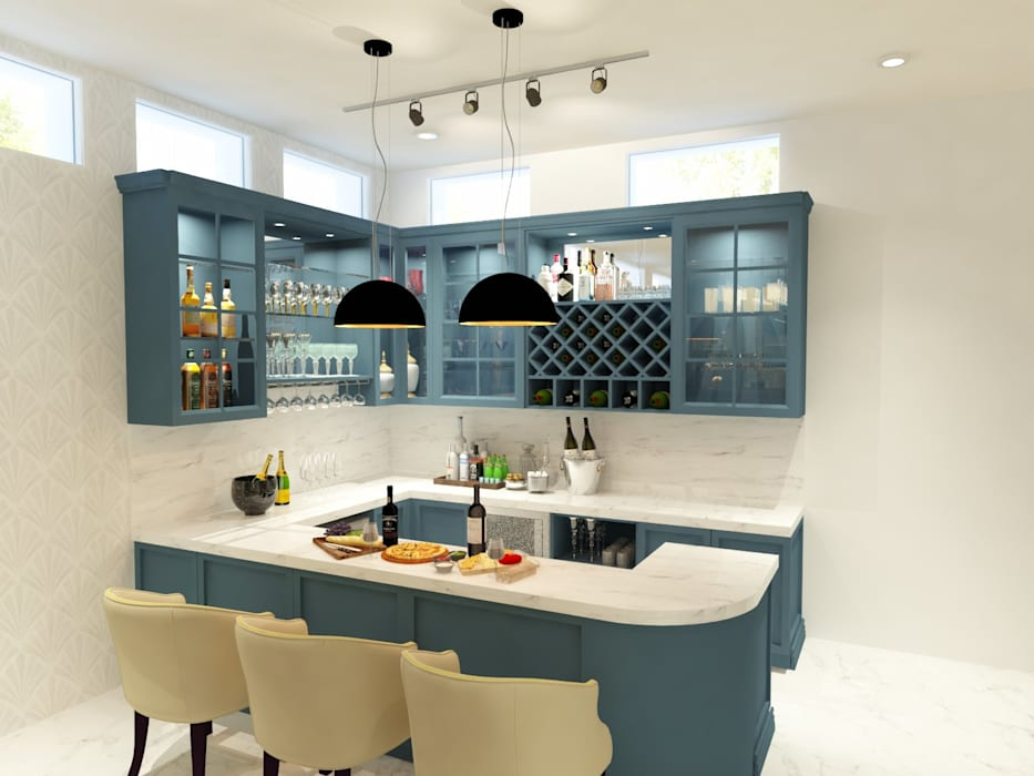 Basement Lounge and Bar Area Modern living room by The Cobblestone Studio Modern MDF