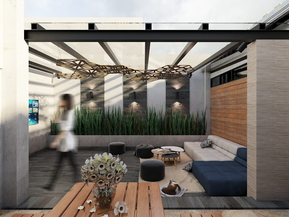 Terraza José Revueltas: Balcón de estilo  por Taller Siete Nueve Arquitectura