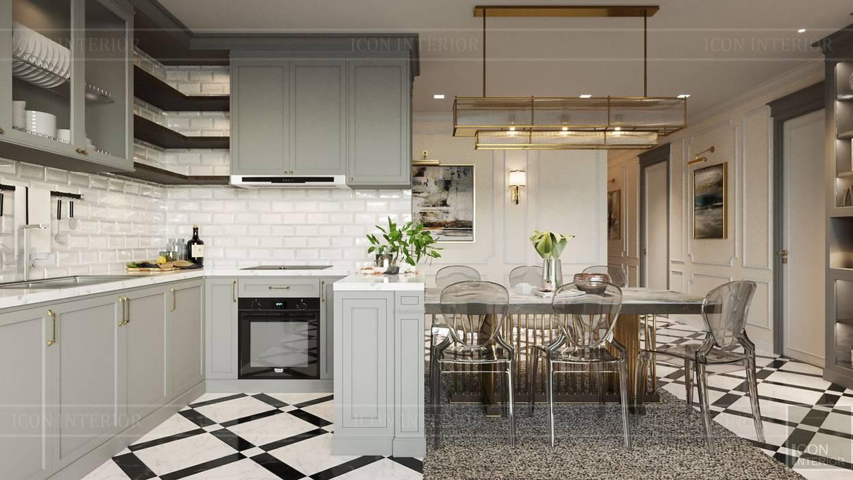Phong cách Art Deco và New York Style kết hợp trong thiết kế nội thất căn hộ Vinhomes Golden River:  Nhà bếp by ICON INTERIOR,