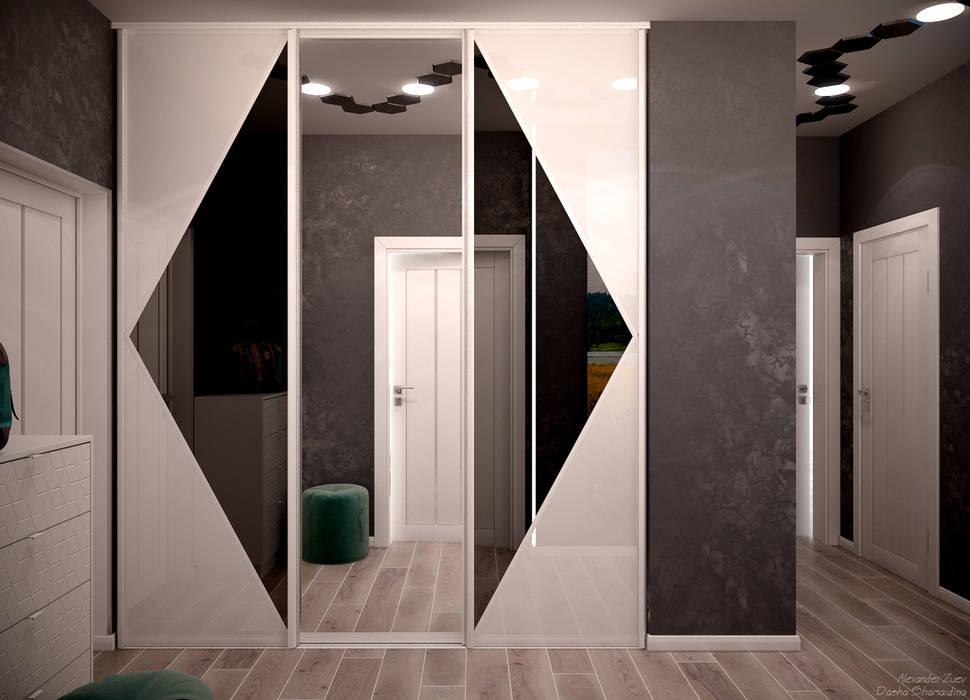 Pasillos, vestíbulos y escaleras modernos de Студия интерьерного дизайна happy.design Moderno
