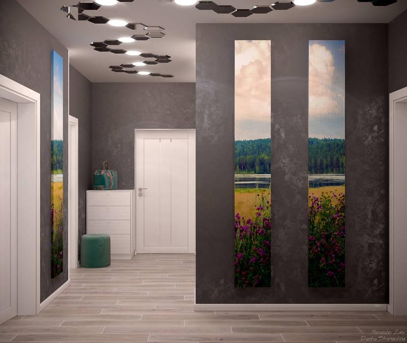 Pasillos, vestíbulos y escaleras de estilo moderno de Студия интерьерного дизайна happy.design Moderno