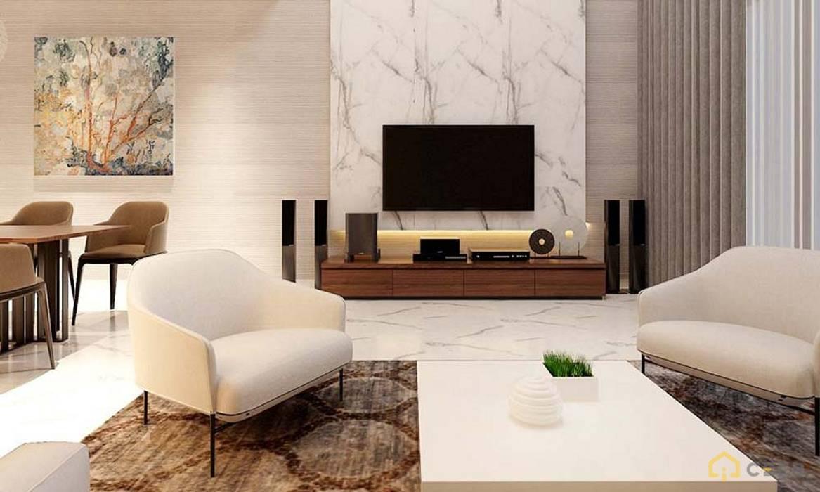 Nội thất nhà phố cityland gò vấp:  Phòng khách by công ty thiết kế nội thất CEEB tại cityland Gò Vấp
