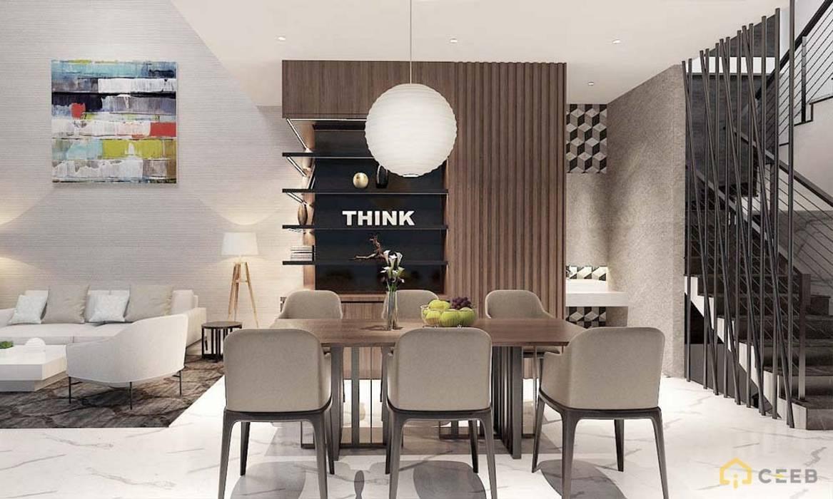 Nội thất nhà phố cityland gò vấp Phòng ăn phong cách châu Á bởi công ty thiết kế nội thất CEEB tại cityland Gò Vấp Châu Á
