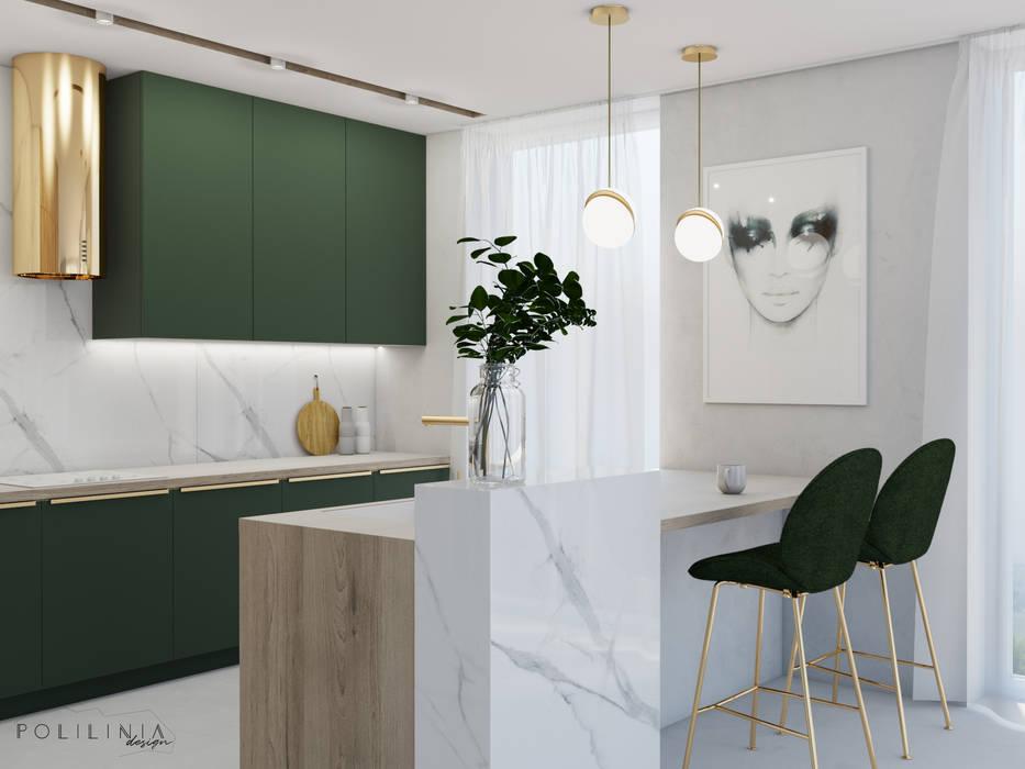Kuchnia w butelkowej zieleni: styl , w kategorii Kuchnia zaprojektowany przez Polilinia Design