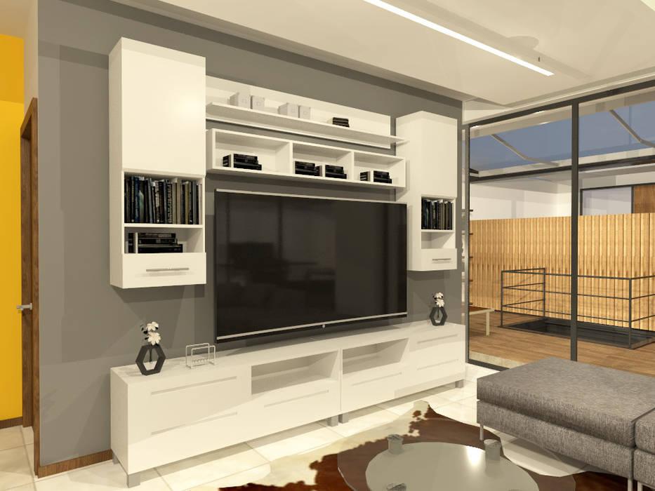 Rack TV Salas multimedia minimalistas de Arquitecto Rafael Balbi Minimalista