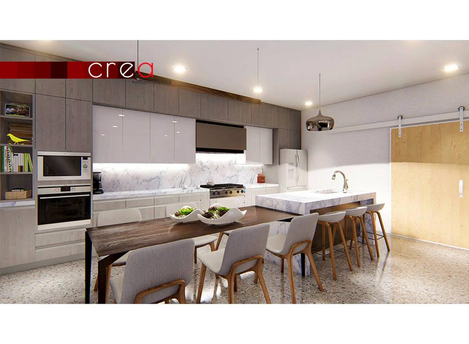CASA BALDERRAMA: Cocinas equipadas de estilo  por CREA arquitectos