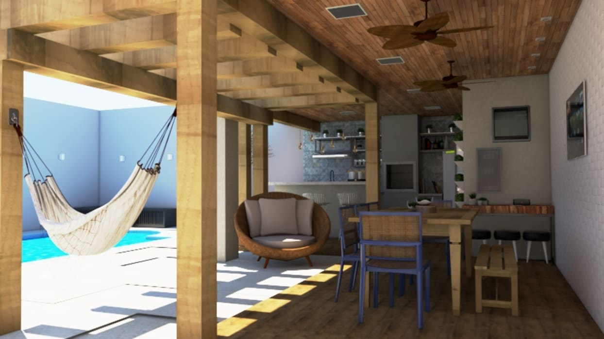 Balcón de estilo  por Bethânia Alves Interiores, Industrial