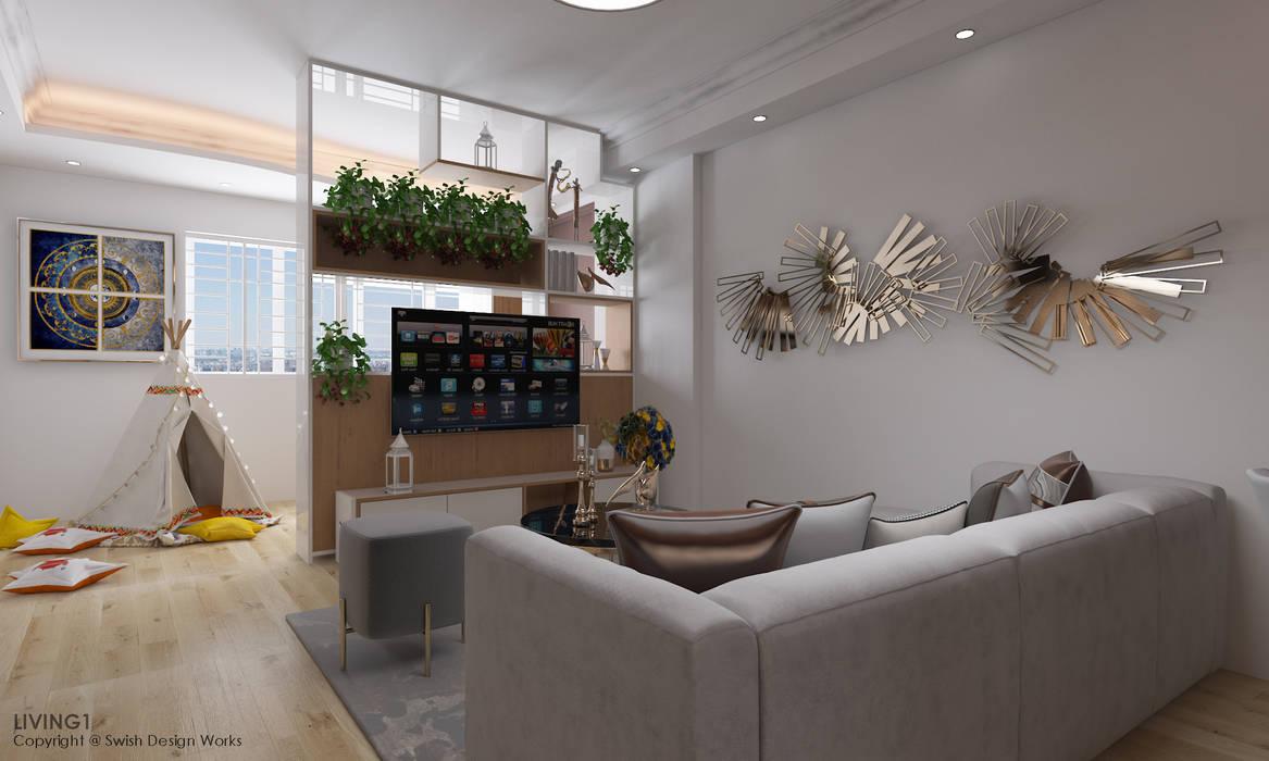 Ang Mo Kio Avenue 10 Scandinavian style living room by Swish Design Works Scandinavian