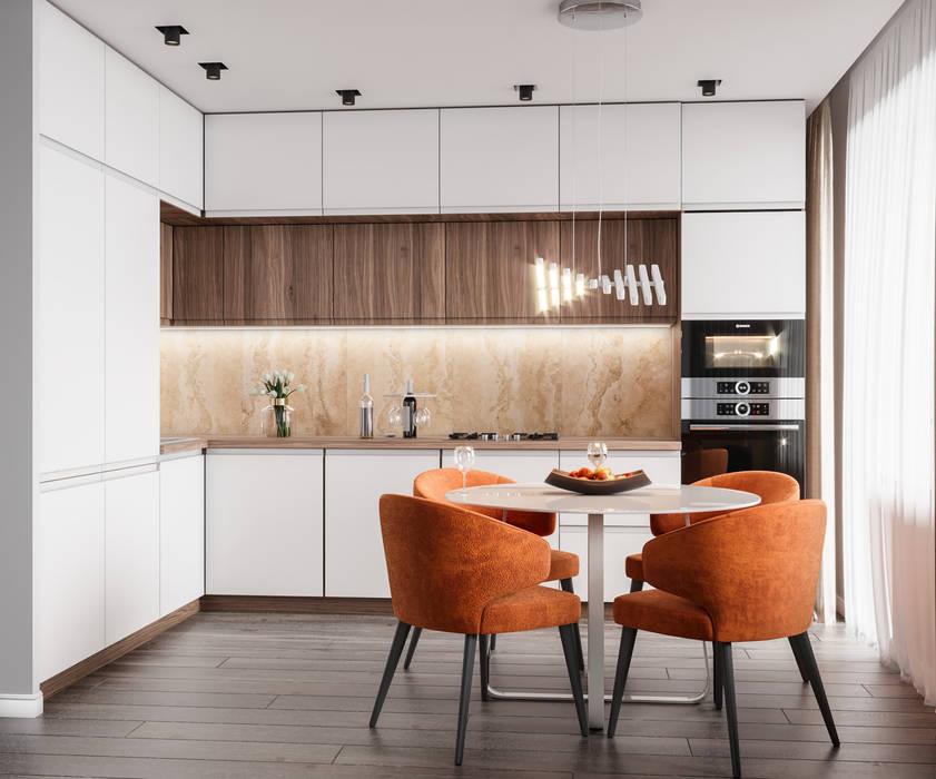 Кухня - гостиная в Тюмени 23,2 кв.м.: Кухни в . Автор – CUBE INTERIOR, Минимализм