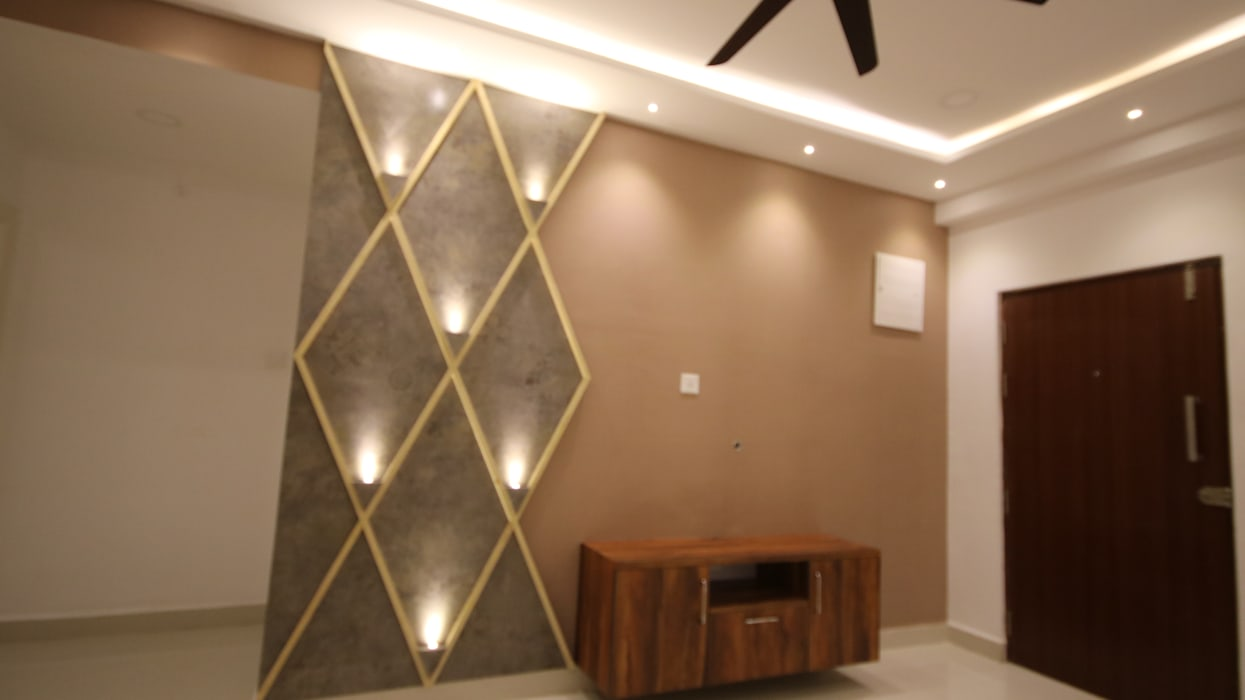 Mr Lidhin & Sona - Greenspace Hyve - 3BHK - Hyderabad Rustic style living room by Enrich Interiors & Decors Rustic