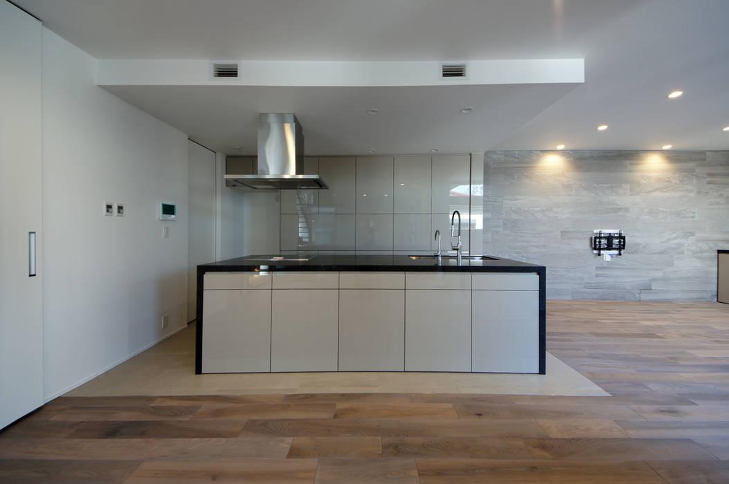 光沢のあるモノトーンのキッチン: TERAJIMA ARCHITECTSが手掛けたキッチンです。