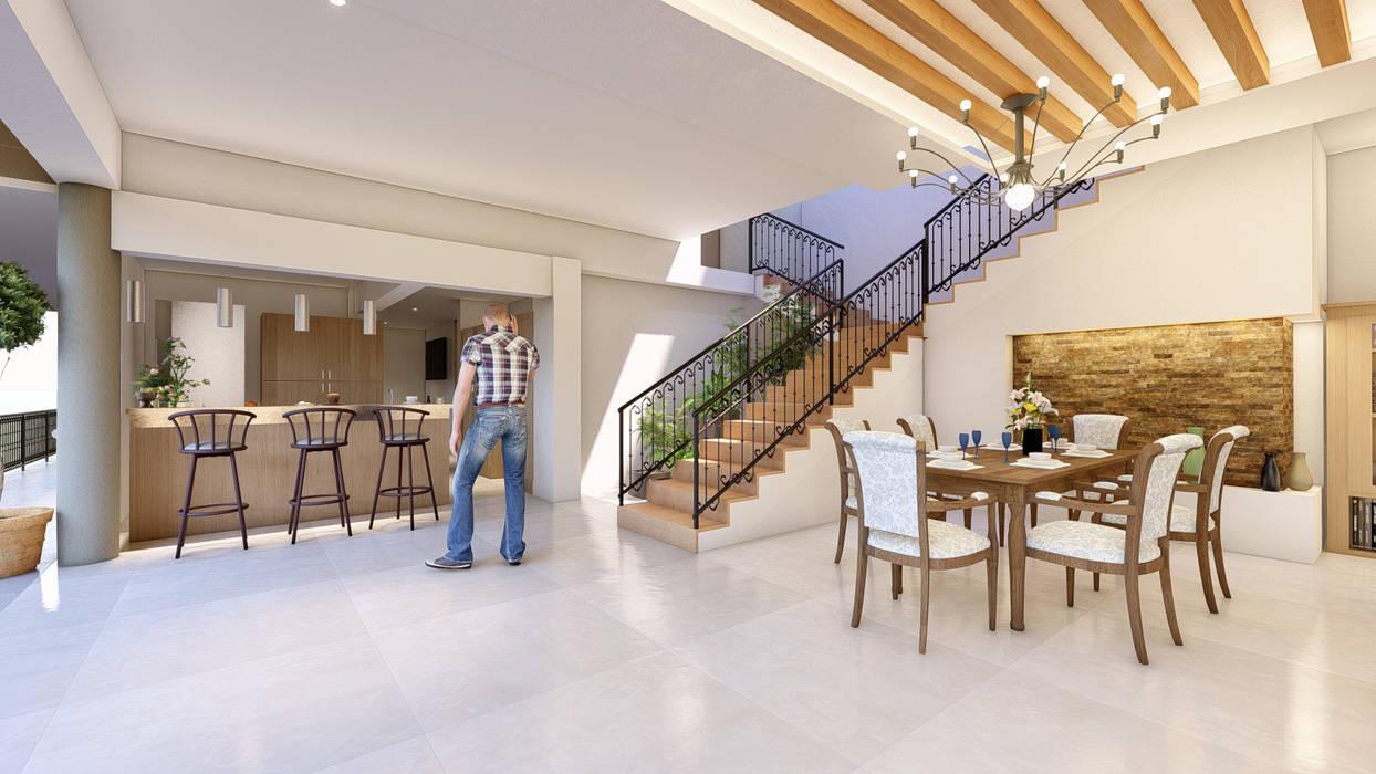 Mediterranean style dining room by AXS Arquitectos Mediterranean Wood Wood effect