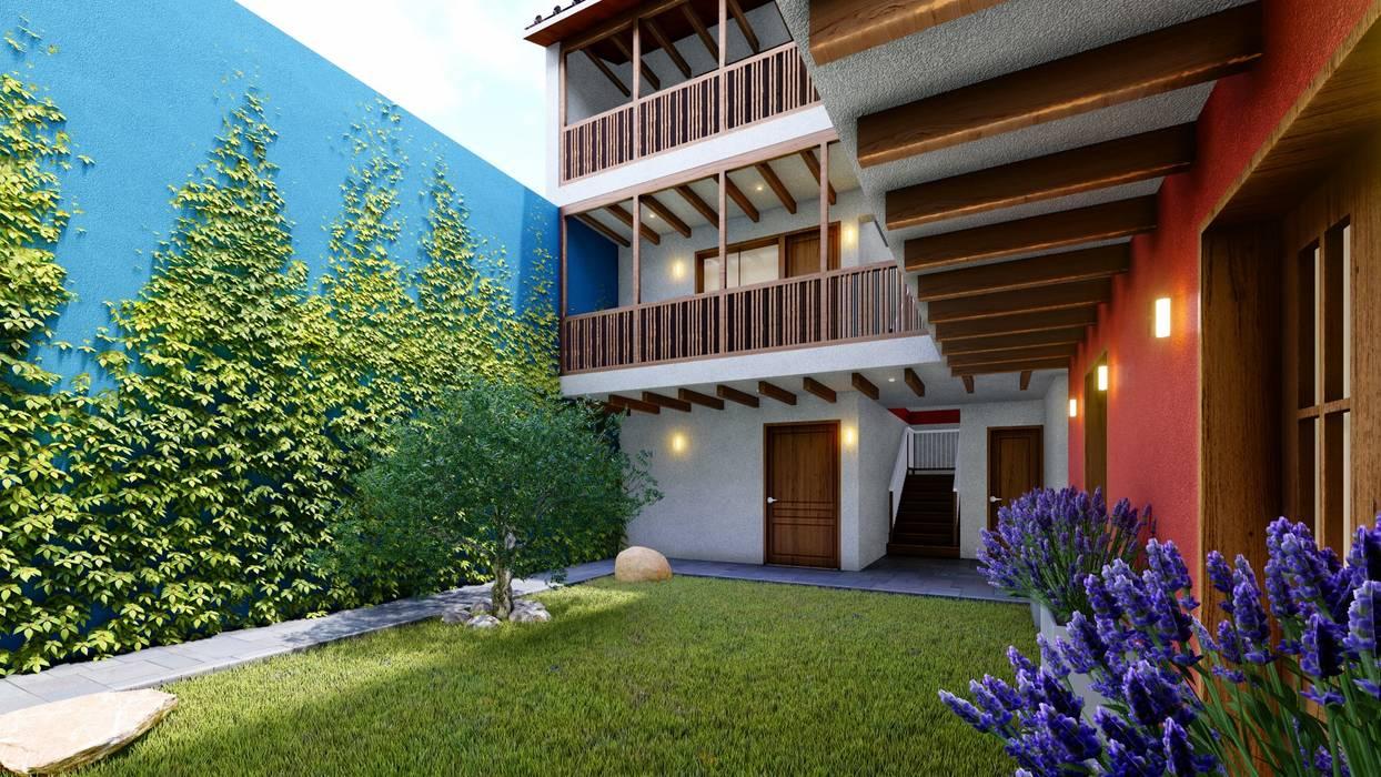 Pasillos y vestíbulos de estilo  por FRANCO CACERES / Arquitectos & Asociados