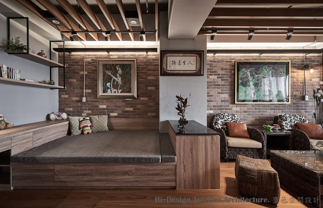 休憩睡眠平台:  臥室 by Hi+Design/Interior.Architecture. 寰邑空間設計,