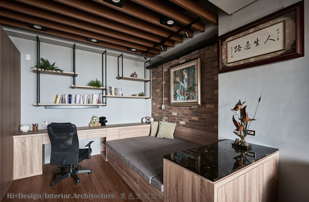 Study/office by Hi+Design/Interior.Architecture. 寰邑空間設計, Industrial Wood Wood effect