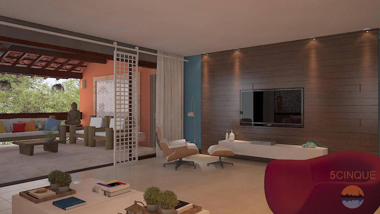Living room by 5CINQUE ARQUITETURA LTDA,