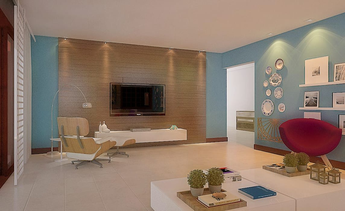 Living room by 5CINQUE ARQUITETURA LTDA, Country