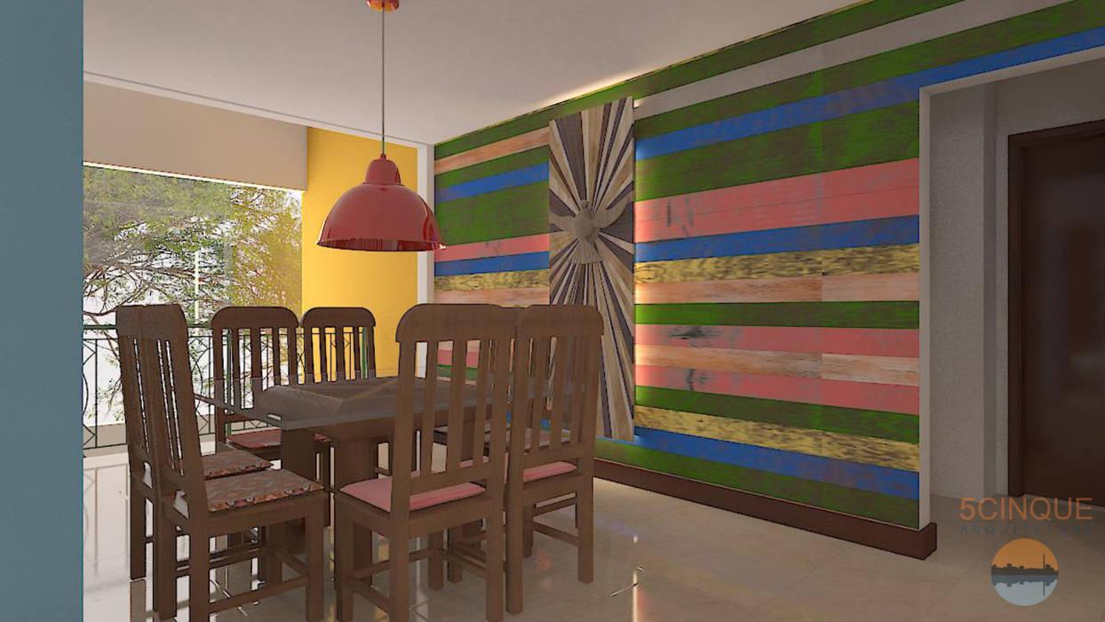 Sala de Jantar com luminária pendente vermelha: Salas de jantar  por 5CINQUE ARQUITETURA LTDA