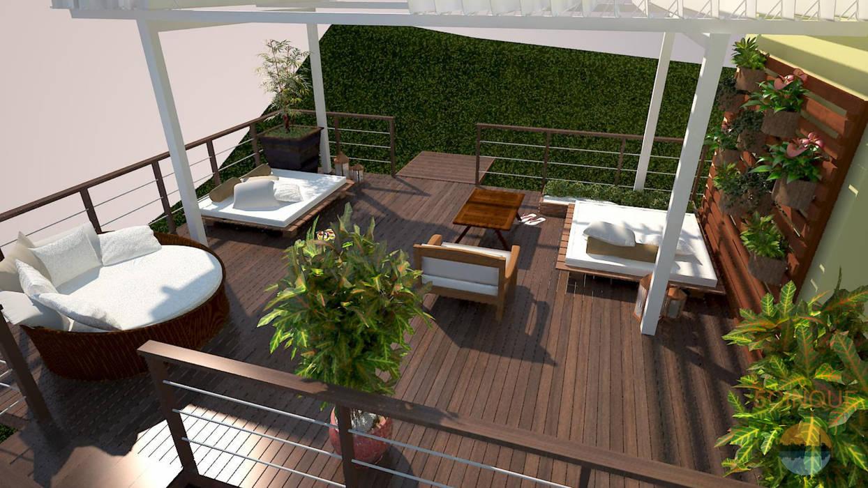 Lounge integrado com natureza e jardim vertical: Terraços  por 5CINQUE ARQUITETURA LTDA