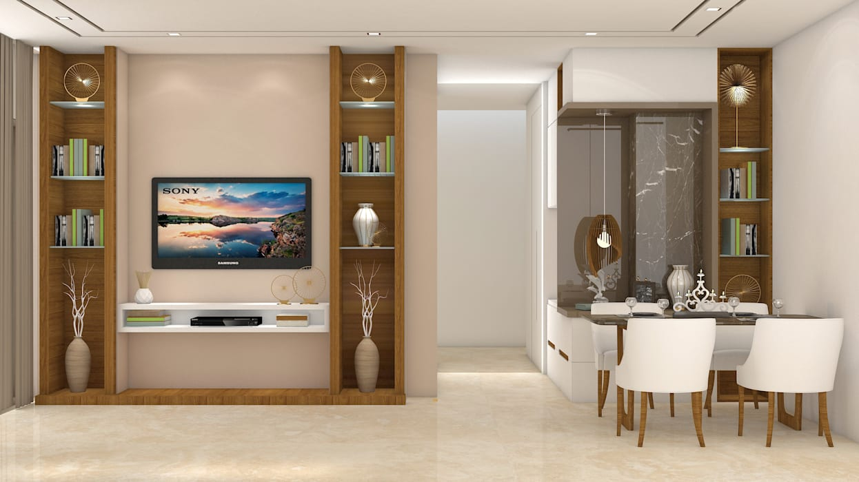 3bhk @ ALTA MONTE OMKAR :  Living room by Midas Dezign