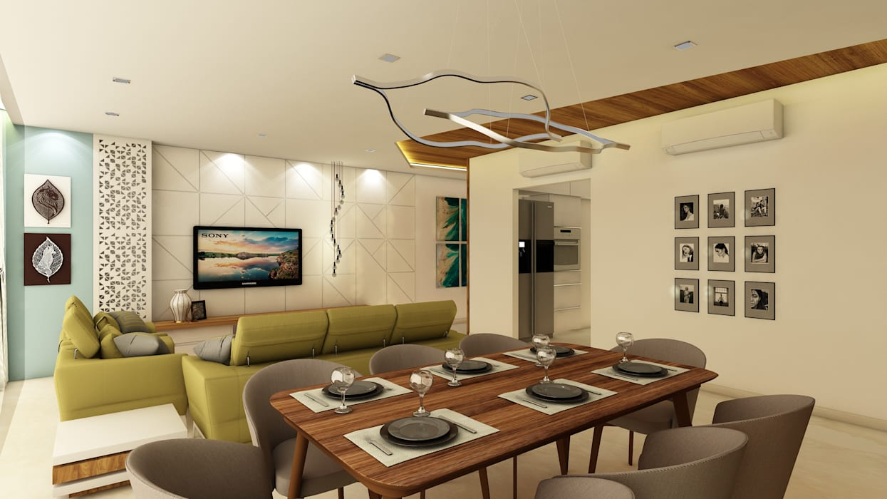 3BHK @ OBEROI ESQUIRE:  Dining room by Midas Dezign