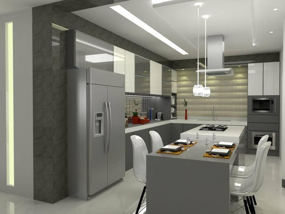 Casa Costa Laguna: Cozinhas  por Multiplanos Arquitetura,