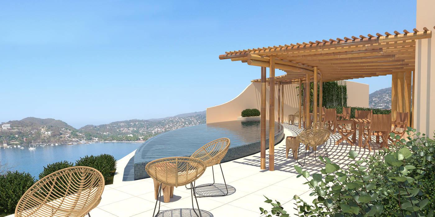 Garden Pool by Zozaya Arquitectos, Tropical